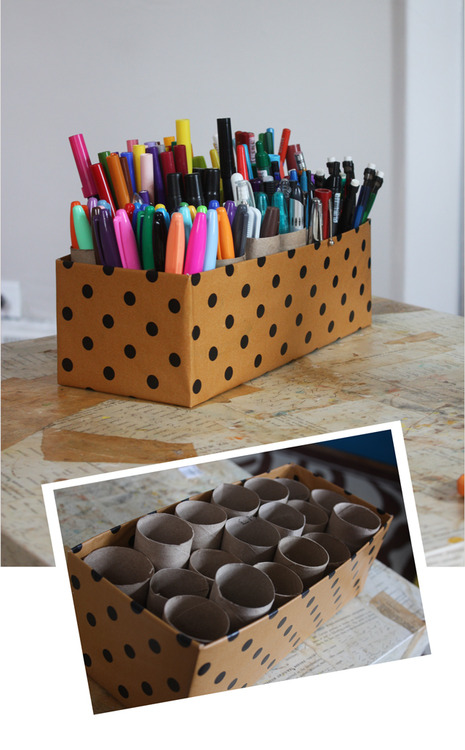 polka dot pencil holder